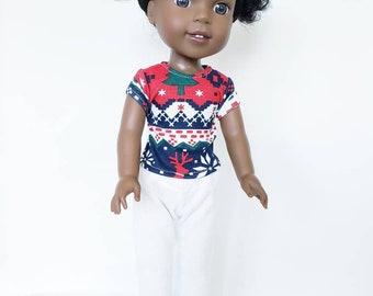 Wellie Wisher Pajamas; Pajamas fit Wellie Wisher doll; 14 inch doll Pajamas
