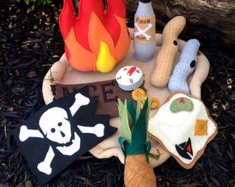 Felt Pirate Campfire Toy Handmade