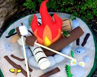 Felt Campfire and Playmat Set