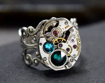 Personalized Steampunk Ring, Choose Your Custom Colors Steampunk Watch Ring in Silver, Vintage Style Size 5 6 7 8, Steam Punk Jewelry Gift