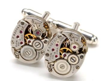 ELGIN 650 Steampunk Cufflinks Steam Punk Vintage Watch Cuff Links SOLDERED Silver Wedding Groom Steampunk Jewelry by Victorian Curiosities