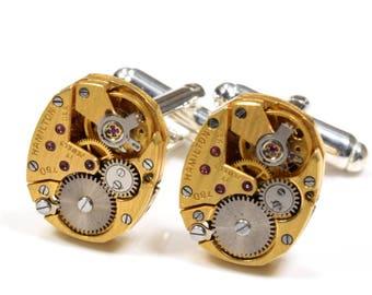 Wedding Cuff Links STRIPED GOLD HAMILTON 780 Watch Cufflinks Groom Steampunk Cufflinks Steampunk Wedding Jewelry by Victorian Curiosities