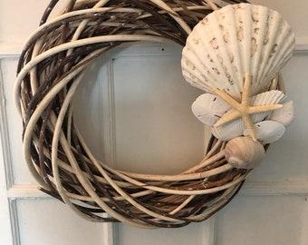 Beach Wreath-Beachy Wreaths-Shell Decor-Starfish Wreath- Beach Wedding-Coastal Wreath-Shabby Chic Wreath