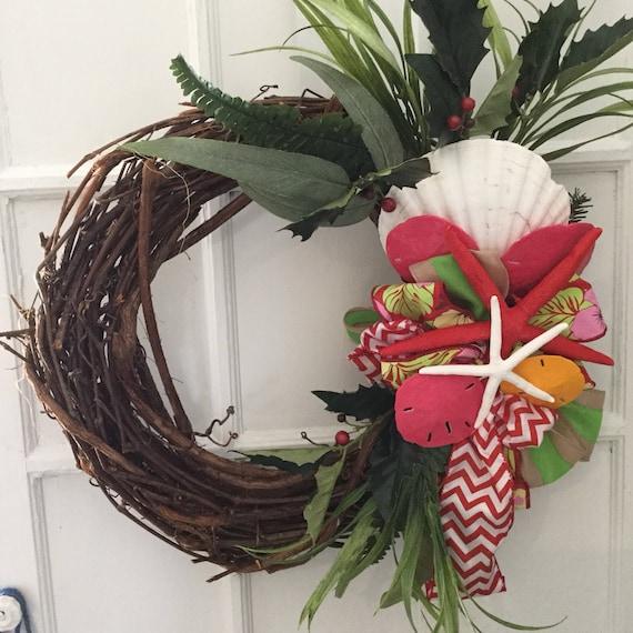 beach christmas beachy christmas wreath tropical wreath coastal christmas wreath shell christmas decor starfish christmas wreath - Beach Christmas Wreath