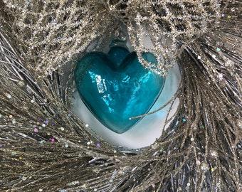 Silver Glitter Wreath-Sparkle Wreath-Silver Wreath-Silver Anniversary Wreath-Blue Glass Heart-Blown Glass