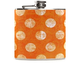 Orange Flask, Womens Gift, Bridesmaids Flask, Wedding Birthday Gift, 6 oz Stainless Steel Hip Flask