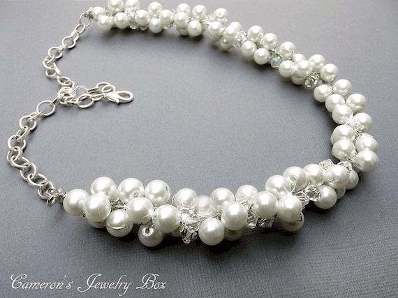 Swarovski Kristall Perlen Collier Draht Häkeln Braut Schmuck Etsy