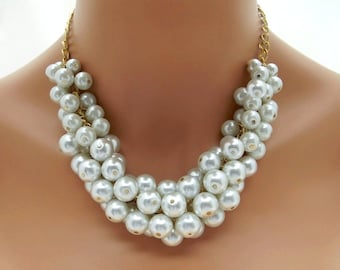 White Statement Necklace, Chunky White Pearl Necklace, Gold Chain, Big Necklace, Bridal Statement Wedding Jewelry