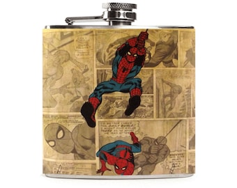 Spiderman Flask for Men, Superhero Wedding, Spiderman Birthday, Groomsmen Gift, 6oz Liquor Hip Flask