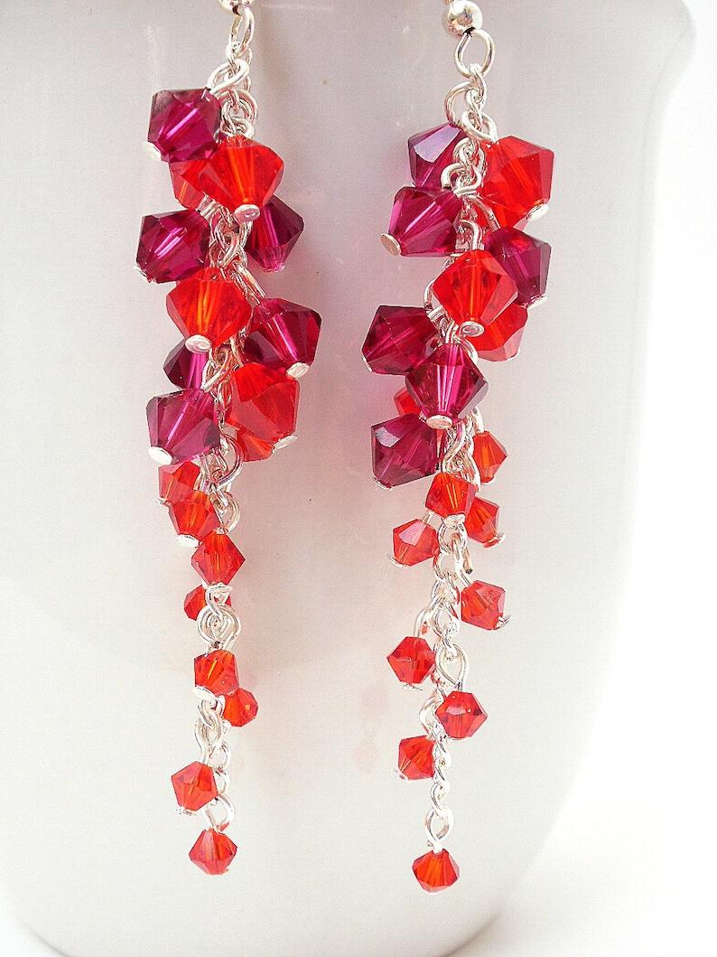 93e9b251d823 Pendientes de cristal de Swarovski rojo largo rojo