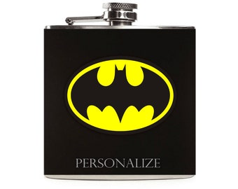 Batman Flask, Superhero Flask, Superhero Wedding, Flasks for Men, Custom Groomsmen Stainless Steel 6oz Hip Flask