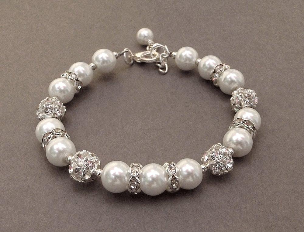 White Pearls Shiny Rhinestones Evening Bridal Party 2 Rows Bangle Bracelet BB103