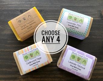 Soap Set of 4 You Choose - Bar Soaps Handmade Soap gift for women man gift goat milk soap vegan soap Stocking Stuffer Christmas gifts