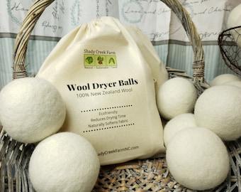 Organic Wool Dryer Balls XL - Earth Friendly Laundry Dryer Balls Natural Fabric Softener Alternative, Handmade Cruelty-Free Compostable