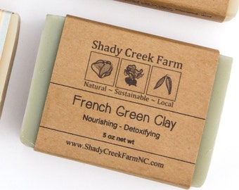 French Green Soap - Clay Soap Unscented Soap All Natural Soap Handcrafted Soap Handmade Soap Detox Soap Artisanal Soap Vegan Soap