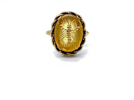 Vintage Gold Scorpion Cameo Ring