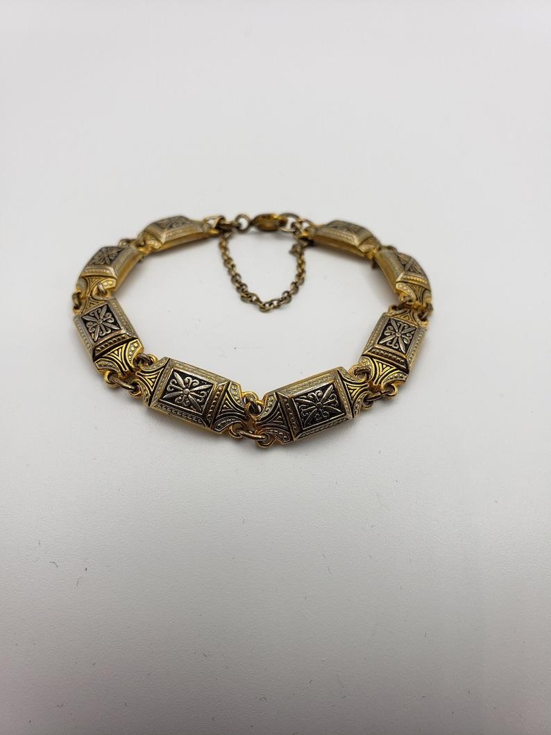 Art Deco Damascene Enamel Bracelet Gold Tone rectangular links and Black Gold Geometric Link bracelet,- 2.50 shipping Quality