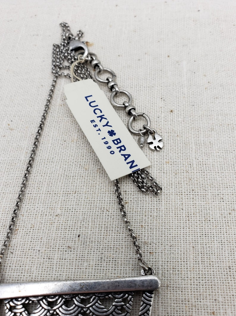 Lucky brand silver long chain Pendent  necklace Art Deco Look New with tags Giftable
