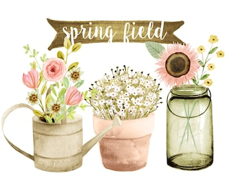 Flowers Clipart Watercolor Rustic Wedding Country Weddingfloral Mason Jar Spring