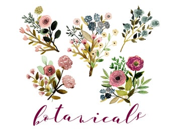 Floral Clipart Wedding Watercolor Rustic Invites Decor