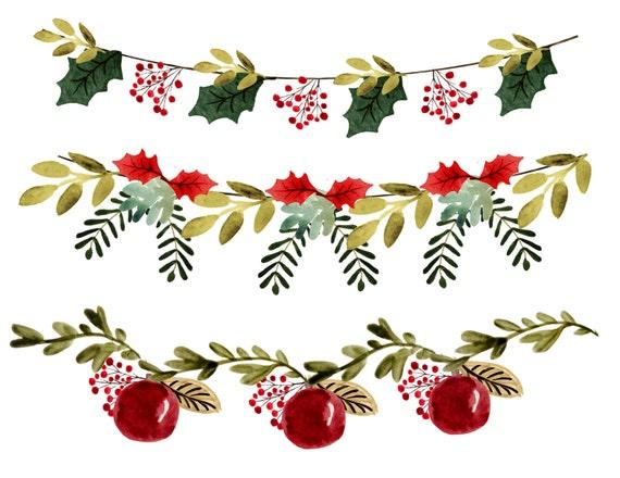 Christmas Clipart Christmas Garlands Christmas Borders Vintage Christmas Clipart