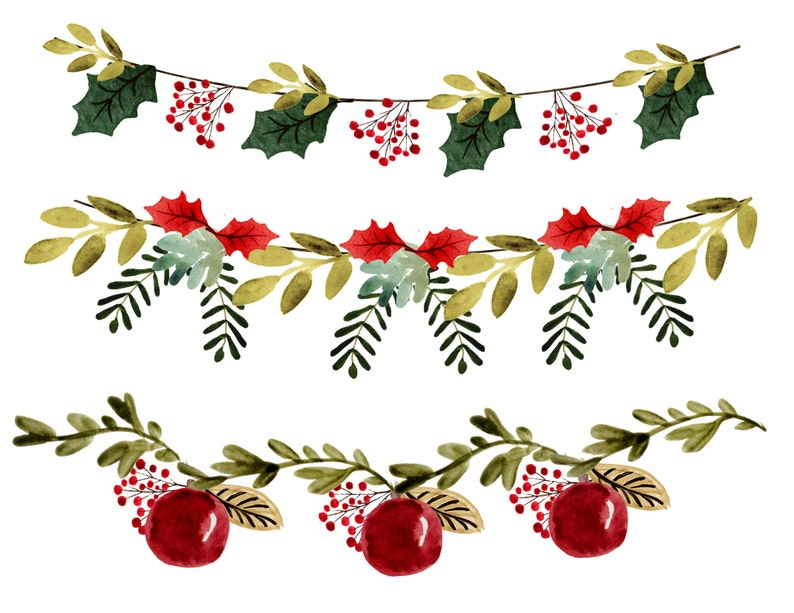 Christmas Clipart Christmas Garlands Christmas Borders Vintage Christmas Clipart