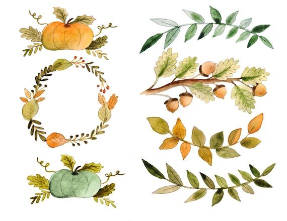Herbst Cliparts Aquarell Fallen Herbst Zitate Danksagung Etsy