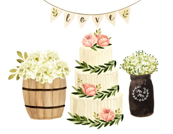 cake clipart wedding clipart watercolor wedding clipart rustic rh etsystudio com rustic wedding invitation clipart rustic wedding invitation clipart