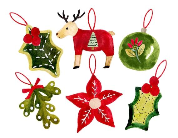 image 0 - Christmas Clipart Watercolor Christmas Clipart Christmas Etsy