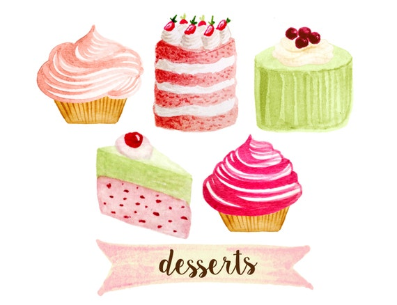 Cupcake clipart bakery clipart tea party clipart cakes | Etsy
