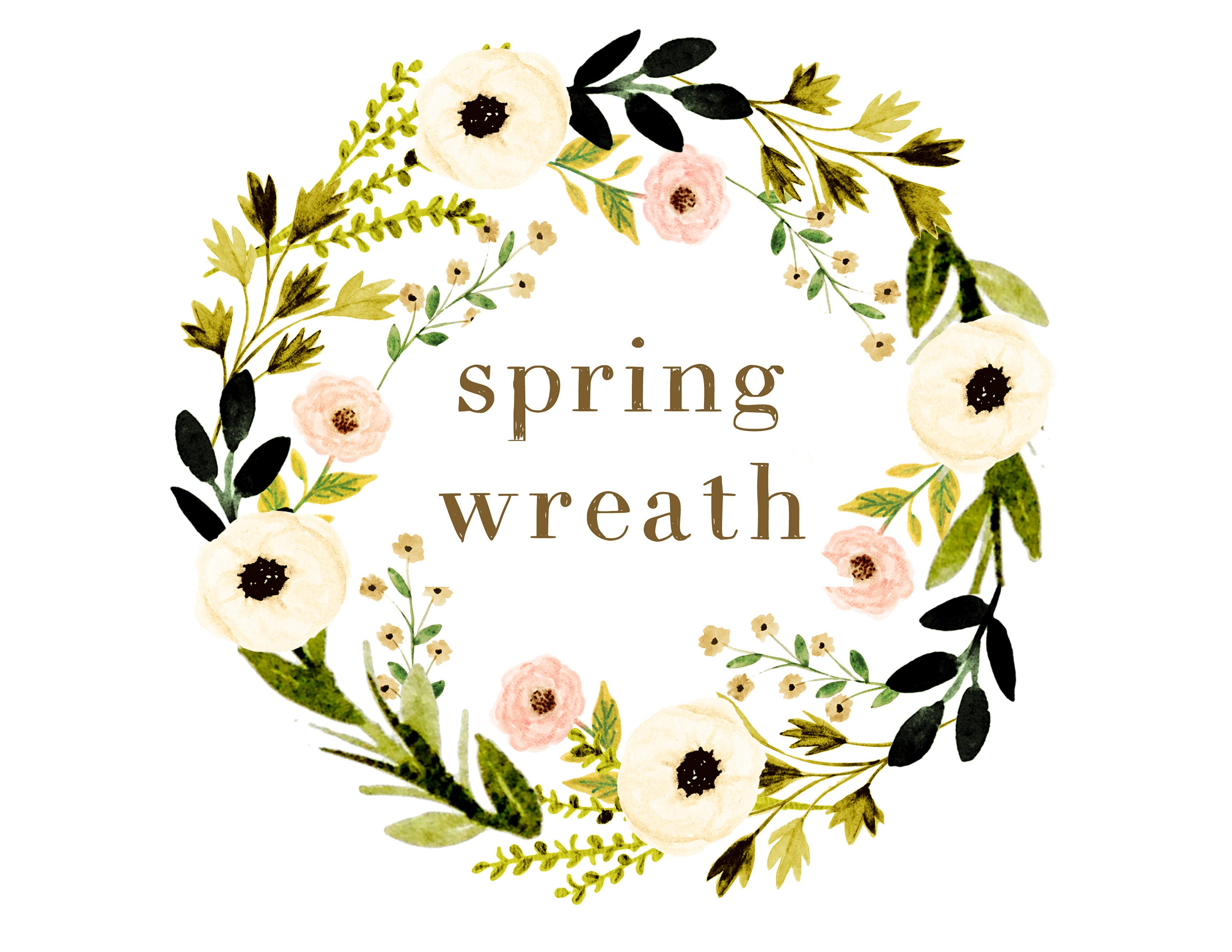 Floral clipart spring clipart floral wreath wedding | Etsy