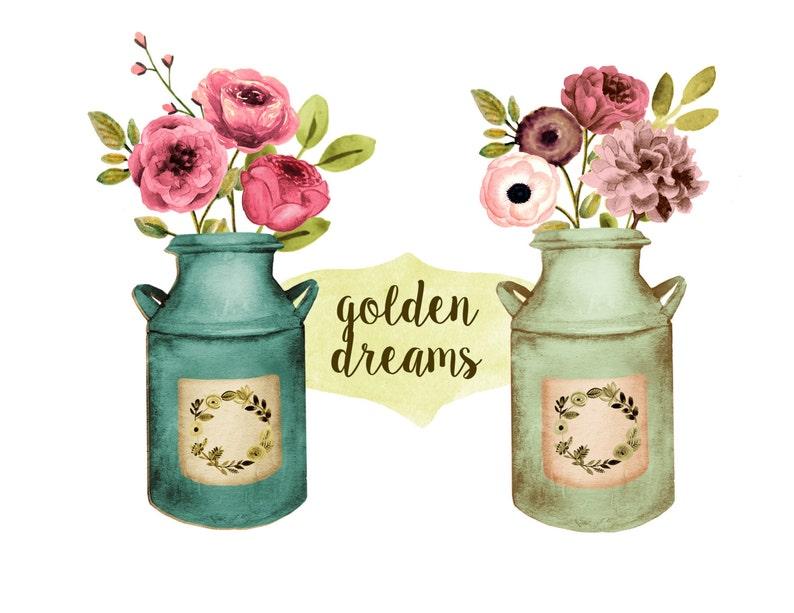 Floral clipart rustic wedding clipart mason jar clipart   Etsy