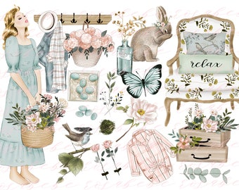 spring clipart, botanical clipart, planner clipart, fashion clipart, feminine clipart, womens clipart, office clipart, clipart