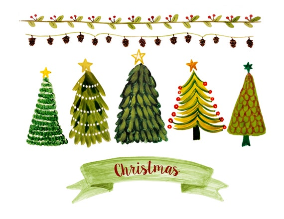 Weihnachtsbaum Cliparts Weihnachten Grenze Cliparts Etsy