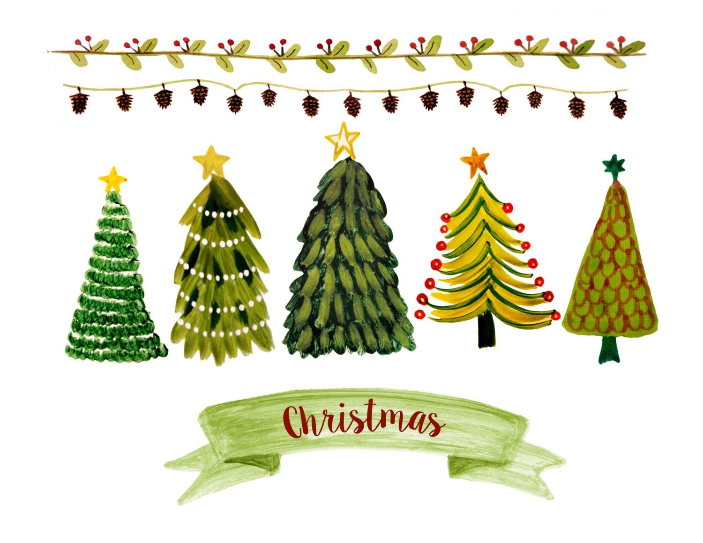Weihnachtsbaum Cliparts Weihnachten Grenze Cliparts | Etsy