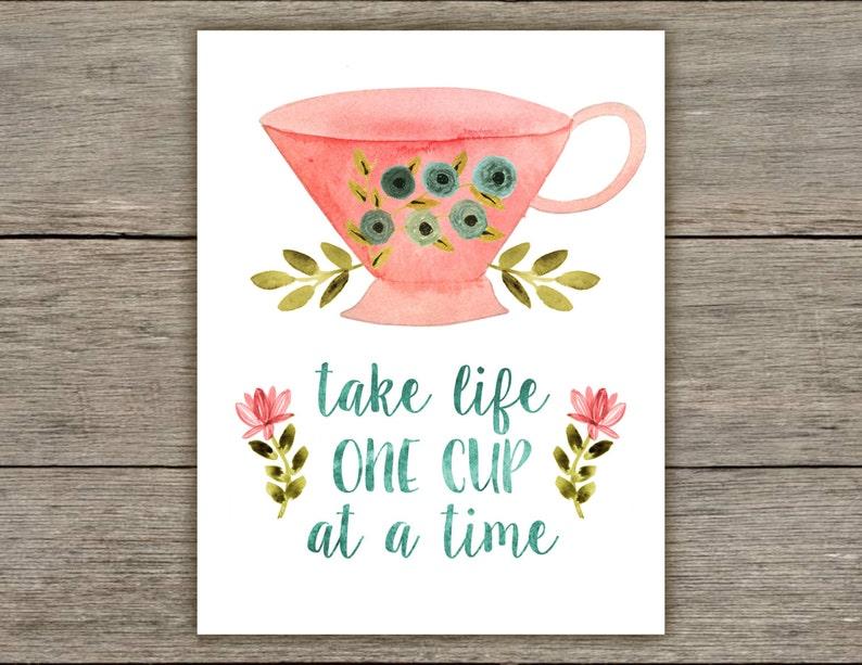kitchen wall decor watercolor wall decor tea cup wall decor watercolor prints rustic decor Tea quote print tea cup prints