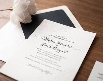 Classic Floral Letterpress Wedding Invitations