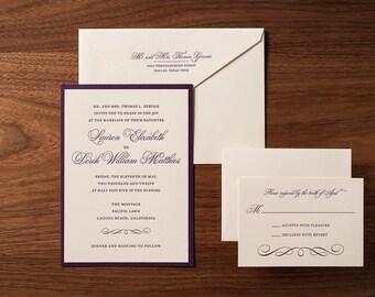 Elegant Letterpressed Wedding Invitation Suite