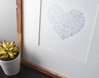 Key To My Heart Letterpress Print