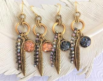 Gold Feather Earrings, Rhinestone Feather Earrings, Druzy Dangle Earrings, Metal Feather Earrings, Light Coral Earrings, Charcoal Earrings