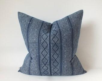 Hmong Cushion cover Boho Pillows ethnic Indigo Navy Blue Batik Hand woven Throw pillows Living room sofa decorative Accent Home decor couch