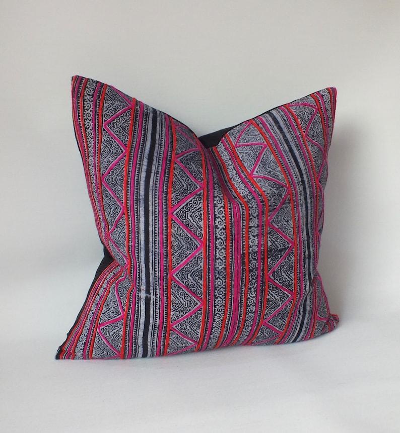 Hmong Pillow Case Throw cushion Vintage Batik Pillow Cover Handwoven ethnic textile recycled fabric Indigo striped decorative floor cushion