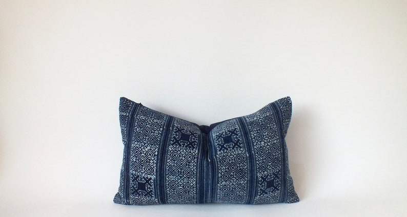 Hmong Batik Block Print Indigo Navy blue decorative Pillow image 0