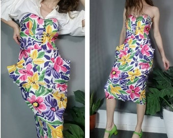 285ae0b3fb Vintage 80s 90s Dress Strapless Spring Floral Dress with Coolest Pockets  Sweetheart Neckline s m