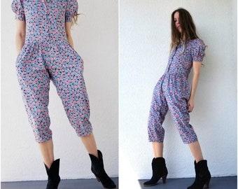 eaca005f8a9 Vintage 80s Jumpsuit Floral Puff Sleeve Jumpsuit Youth 12 Adult Petite xs s