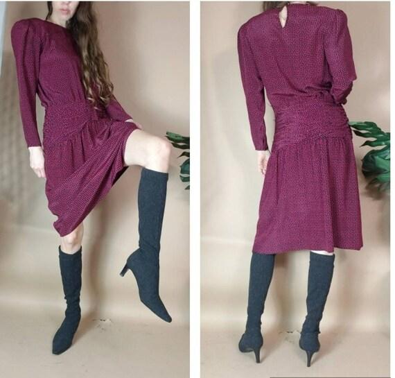 Vintage 90s Dress Silk Albert Nipon Print Modest D