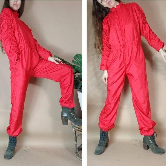 Vintage 80s 90s Red Nylon Jumpsuit m