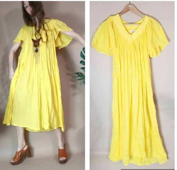 Vintage 70s 80s Amerikan Climax Gauze Dress Sunshi