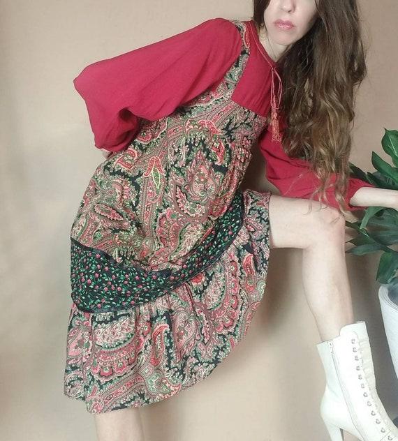 Vintage 70s Hippie Folk Peasant Dress xs