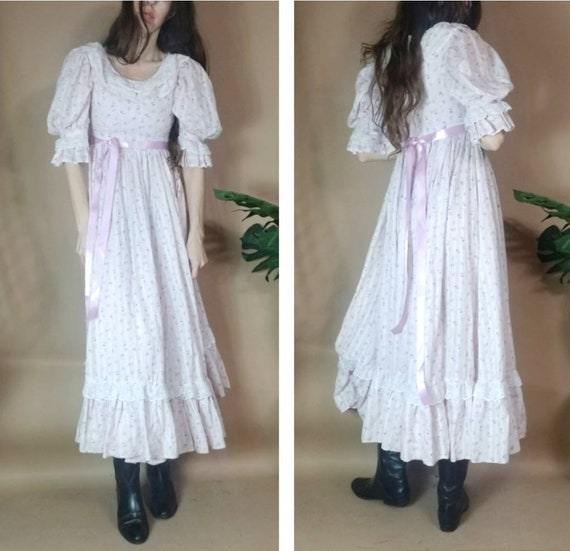 Vintage 70s Prairie Dress Puff Sleeve Babydoll Flo